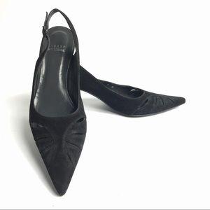 Stuart Weitzman Black Suede Slingback Heels